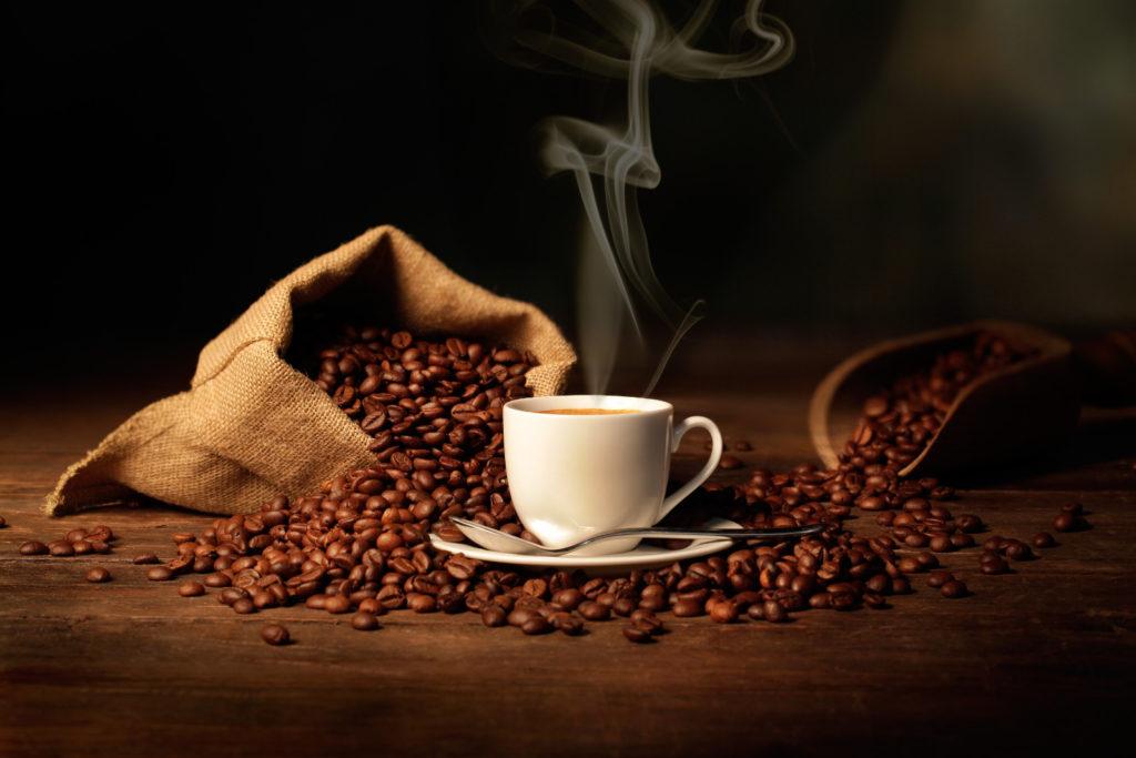 bag coffee beans shoulder cup