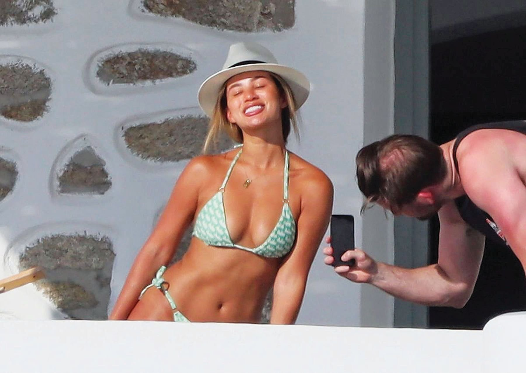 montana brown enjoys the hot greek sunshine on her romantic holiday with boyfriend mark o connor in mykonos 2